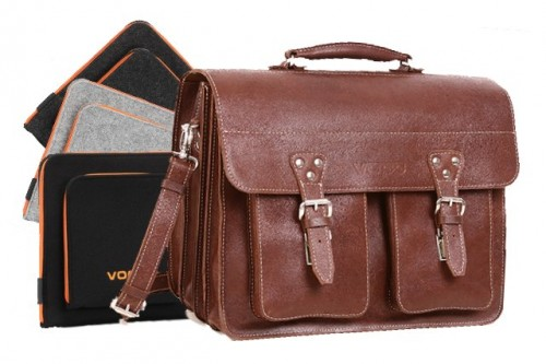 PROMO SET Torba biznesowa skórzana brown TC12+ etui EPD1 na laptop