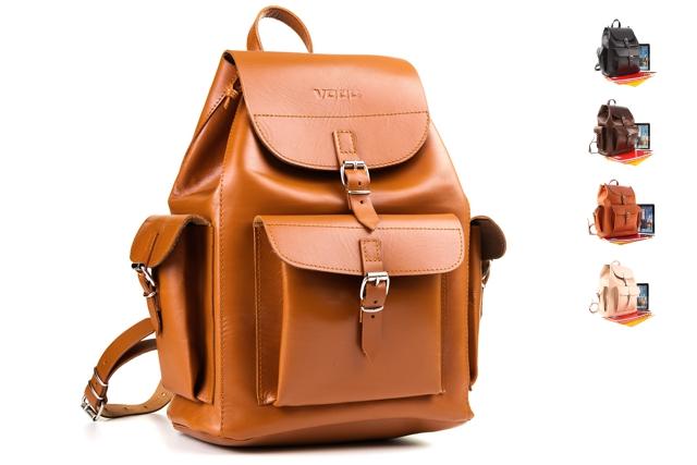 7aec2783612f7 Duży plecak ze skóry juchtowej VOOC Vintage P40. Duży i pojemny skórzany  plecak w stylu ...